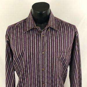 Bugatchi Uomo Button Up Shirt Striped Brown L